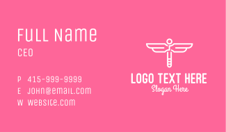 Pink White Dragonfly Business Card