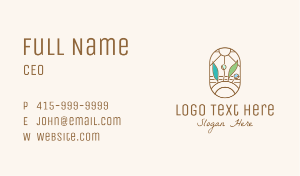 organic farm - Organic Farm Stained Glass Business card horizontal design