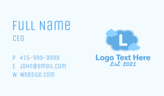 Blue Clouds Letter Business Card