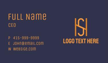 Orange Monogram H & S Business Card