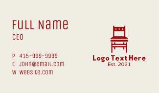 Red Dining Chair Business Card