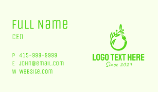 Green Plant Pen Business Card
