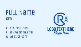 Blue Letter R Nautical  Business Card