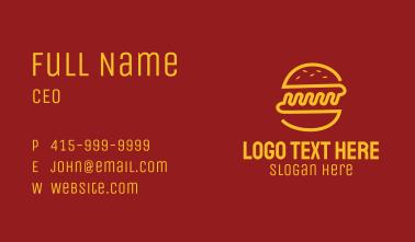 Yellow Monoline Burger Sandwich Business Card