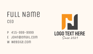 Negative Space Letter H Business Card