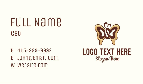 mocha - Brown Coffee Bean Butterfly Business card horizontal design