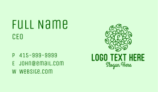 Cute Natural Lettermark Business Card