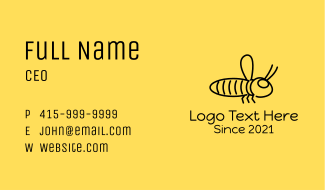 Minimalist Bee Insect  Business Card