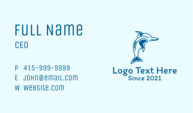Blue Dolphin Mascot  Business Card