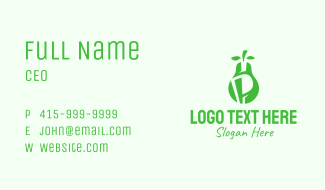 Green Pear Letter P  Business Card