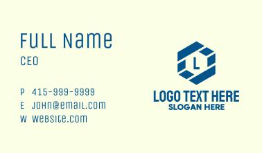 Hexagon Lines Lettermark Business Card