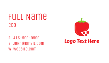 Red Digital Chili Pixel Business Card