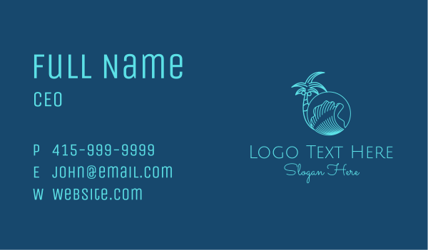 sea waves - Palm Tree Water Waves  Business card horizontal design