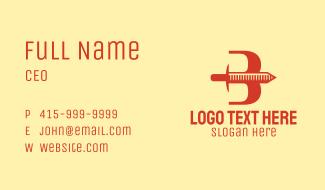 Orange Sword Letter B Business Card