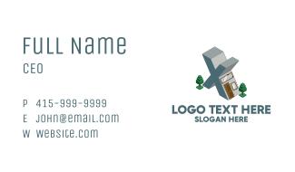 Modern Building Letter X Business Card
