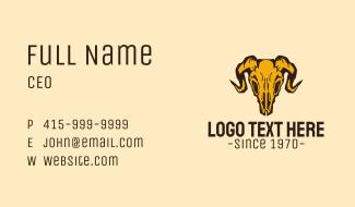 Rustic Ram Skull Business Card