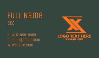Orange Financial Letter X Business Card