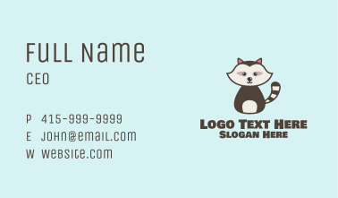 Cute Racoon Character Business Card