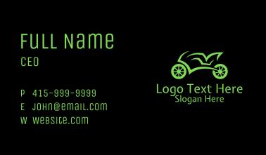 Green Racing Motorbike Business Card