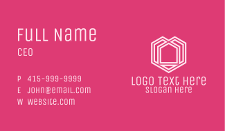 Pink Geometric House Business Card