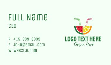 Watermelon Orange Fruit Juice Business Card