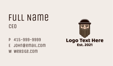 Old Man Beard Cartoon Business Card