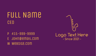 Gold Saxophone Music Business Card