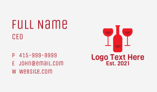 Red Wine Bar Business Card