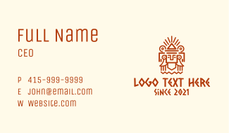 Mayan Pyramid Statue Business Card