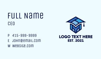 Geometric Graduation Cap Business Card