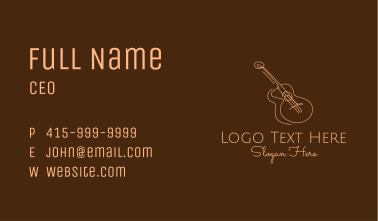 Line Art Brown Guitar  Business Card