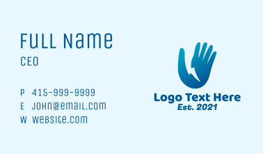 Blue Electric Hand Business Card
