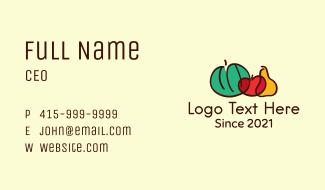 Multicolor Vegetable Doodle  Business Card