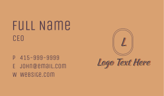 Aesthetic Fashion Letter Business Card
