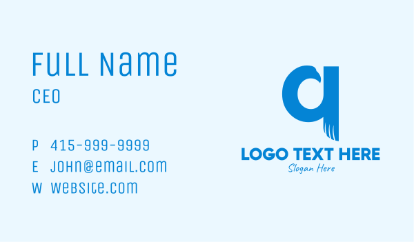 letter q - Blue Eagle Letter Q Business card horizontal design