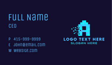 Pixelated Letter A Business Card