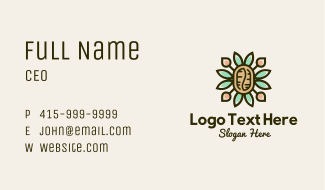 Ornamental Coffee Bean Business Card