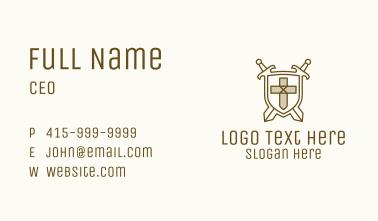 Sword Cross Medieval Emblem Business Card