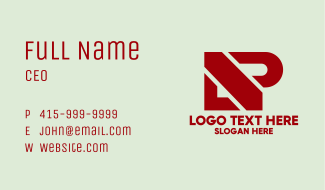 Modern Red Letter P Business Card
