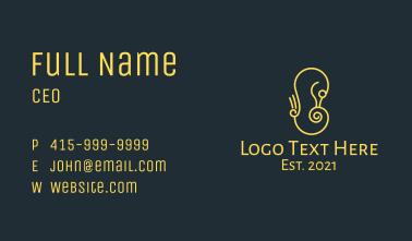 Minimalist Yellow Seahorse  Business Card