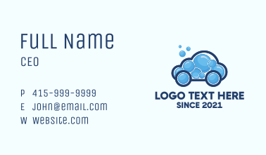Bubble Cleaning Car  Business Card