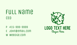 Green Nature Time Clock Business Card