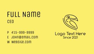 Black Minimalist Toucan Business Card