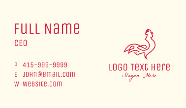 Red Rooster Monoline Business Card