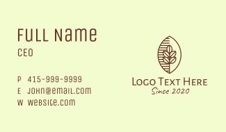Organic Coffee Bean Cafe Business Card