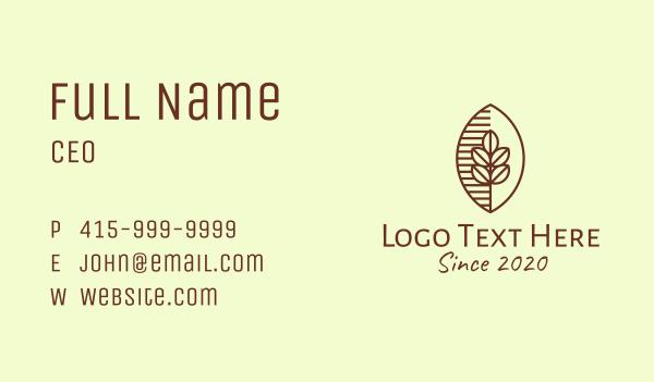 lineart - Organic Coffee Bean Cafe Business card horizontal design