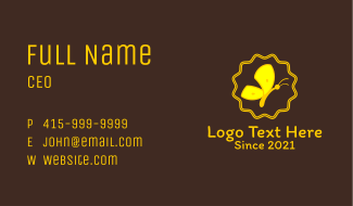 Cute Yellow Butterfly Business Card