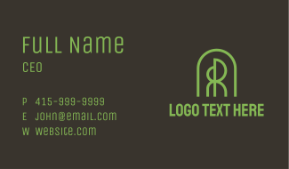 Tree Dome Letter R & R Business Card