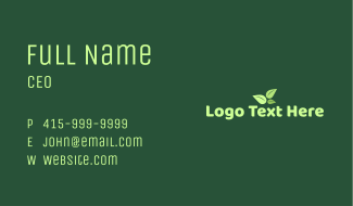 Green Tea Wordmark Business Card