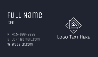 White Boxed Line Letter Business Card